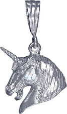 Sterling Silver Unicorn Charm Pendant Necklace Diamond Cut Finish with Chain