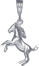 Sterling Silver Horse Charm Pendant Necklace Diamond Cut Finish with Chain