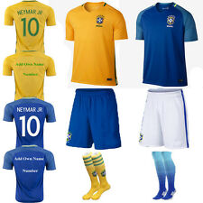 2017 NEYMAR 10 Football Soccer Short Sleeve Kit Jersey Kids Boy 3-14Y+Socks Suit