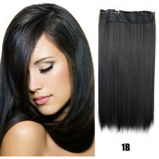 Clip In Synthetic Hair Extension Long Straight Hairpiece Heat Resistant 24inch