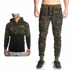 Camo Muscle Brothers Hoodie Sweats Long Pants Coat Gym Athletic Sport Sport Suit