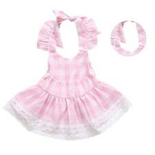 Toddler Baby Girls Outfits Plaid Backless Lace Tops Dress+PP Shorts Clothes Set