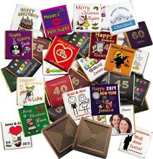 100 Personalised Belgian chocolate favours: wedding, birthday, party,christening