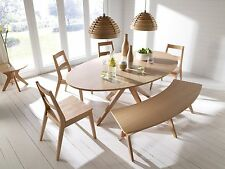 Malmo White OAK Dining Set Scandinavian Style Furniture -Tables Chairs Bench