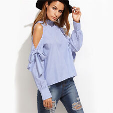 Womens Long Sleeve Blue Vertical Striped Ruffle Collar Cold Shoulder Blouse