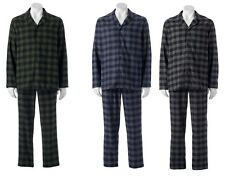 Mens Flannel Pajama Set Plaid  Long Sleeves Cotton Polyester sizes S XL NEW