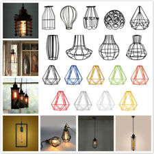 Vintage Metal Pendant Trouble Light Bulb Wire Cage Ceiling Hanging Lampshade DIY