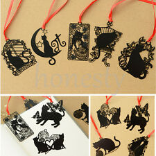Retro Metal Hollow Cat Bookmark Flags Book Mark Page Marker Novelty Set Gift