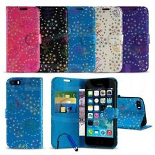 Apple iPhone 5 / 5S - Textured Diamond Flower Wallet Case Cover w/ SP &Mini Pen