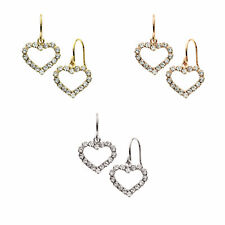 14K Gold, Rose Gold, or Rhodium Plated Crystal Heart Drop Earring