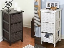 Wood Drawer Storage Chest Basket Organizer End Table Nightstand Accent Furniture