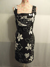 NEW WITH TAGS BLACK & WHITE FLORAL PENCIL WIGGLE STRAIGHT TUCKED BODICE DRESS