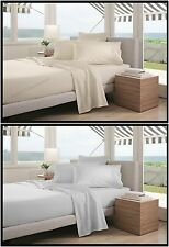 Luxury 100% Combed Cotton Percale Plain Fitted Sheet Flat Sheet Pillowcases