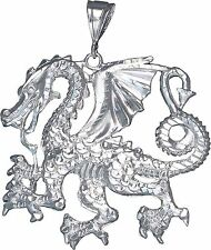 Huge Sterling Silver Dragon Charm Pendant Necklace Diamond Cut Finish with Chain