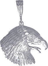 Sterling Silver Eagle Head Charm Pendant Necklace Diamond Cut Finish with Chain