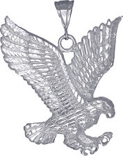 Sterling Silver Large Eagle Charm Pendant Necklace Diamond Cut Finish with Chain