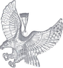 Sterling Silver Flying Eagle Pendant Necklace Diamond Cut Finish with Chain