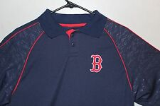 Boston Red Sox Jersey Button  Genuine Authentic MLB Performance Polo   Navy/red