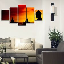 5Panel Buddha Statue Sunset Canvas Prints Painting Wall Art NFL Sport Home Decor