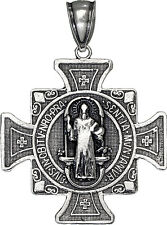 Sterling Silver Saint Benedict Cross Reversible Charm Pendant Necklace 1.3 Inch