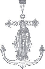 Sterling Silver Anchor Cross with Virgin Mary Pendant Necklace with Diamond Cuts