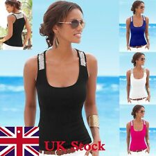 UK Stock Women Ladies Summer Vest Top Sleeveless Blouse Casual Tank Tops T-Shirt