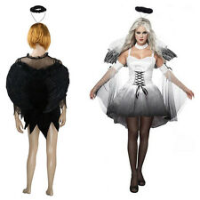 Corpse Bride Costume Fancy Dress Hen Night Party Outfit With Feather Angel Wings