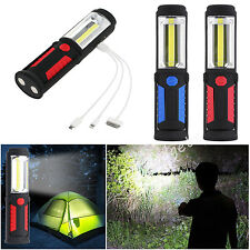 COB +LED USB Rechargeable Inspection Rotary Lamp Torch Work Emergency Light Camp