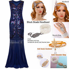Gatsby Prom Gown 1920s Flapper Dress Long Bridesmaid Evening Party Dresses 8-20