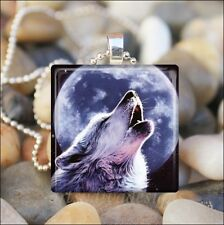 """""""HOWLING WOLF"""" BLUE MOON COYOTE DOG CANINE GLASS TILE PENDANT NECKLACE KEYRING"""