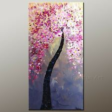 Framed Handmade Modern Wall Art Canvas Decor Abstract Pink Blossom Oil Painting