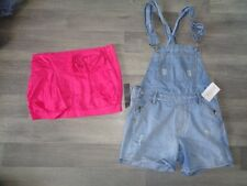 womens hot pink bow summer mini skirt  dungarees NEW size 8