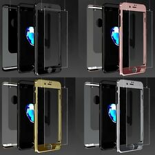 Full Body Hard Case Cover Black Rose Gold Glass Screen Protector for iPhone 7 6