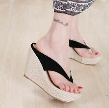 Womens lady Open Toe Wedge Heel Platform Slippers Sandals Flip-flops Thong Shoes