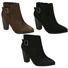WOMENS LADIES BUCKLE FASHION BLOCK HIGH HEEL ANKLE BOOTIES BOOTS SHOES SIZE 3-8