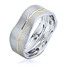 14k Two Tone Gold Wedding Ring Band Polished Yellow Branch Etched Unique 7.5mm