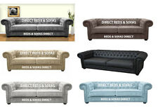 CHESTERFIELD 3 SEATER SOFA  2 SEATER SOFA FABRIC FAUX LEATHER