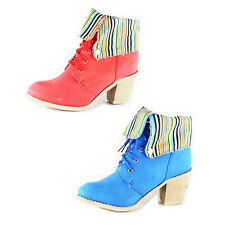 WOMENS LADIES LOW MID HIGH CUBAN CHUNKY HEEL LACE UP BOOTS SHOES SIZE 3-8