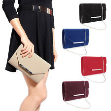 SUEDE WEDDING LADIES PARTY PROM EVENING CLUTCH HAND BAG PURSE VARIOUS COLOURS
