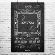 Monopoly Board Game Poster Patent Print Gift Monopoly Poster Monopoly Wall Art