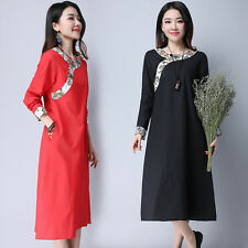 Vintage Chinese Style Women Collar Long Sleeved Dress Cheongsam  Long Dresses