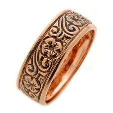 14k Rose Gold Wedding Band Couple Ring Blackened Grooves Etched Flowers 7mm New