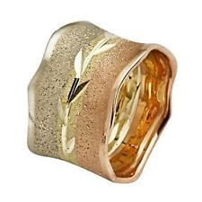 14k Tri Color Gold Wedding Ring Florentine Center Etched Leaf Handmade Band 14mm