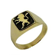 14k Yellow Gold Jewish Ring Lion of Judah Signet with Black Rhodium Israel 12mm