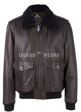 Flight A2 Bomber Pilot Police Jacket Retro Real Leather Removable Fur Collar