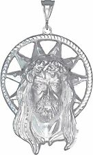 Huge Sterling Silver Jesus Charm Pendant Necklace Diamond Cut Finish with Chain