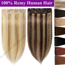 100% Real Human Hair 3/4 Full Head One Piece Clip in Remy Hair Extensions B065