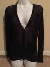 NWT Eileen Fisher V-Neck Cardigan Linen Viscose Airy Rib Black $218 - XS