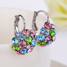 Lady Colorful Zircon Silver Tone Eardrop Earrings Wedding Party Jewelry Advanced