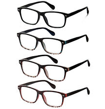 4 Pair Lot Spring Hinge Reading Glasses Clear Lens Strength Men Women Pack
